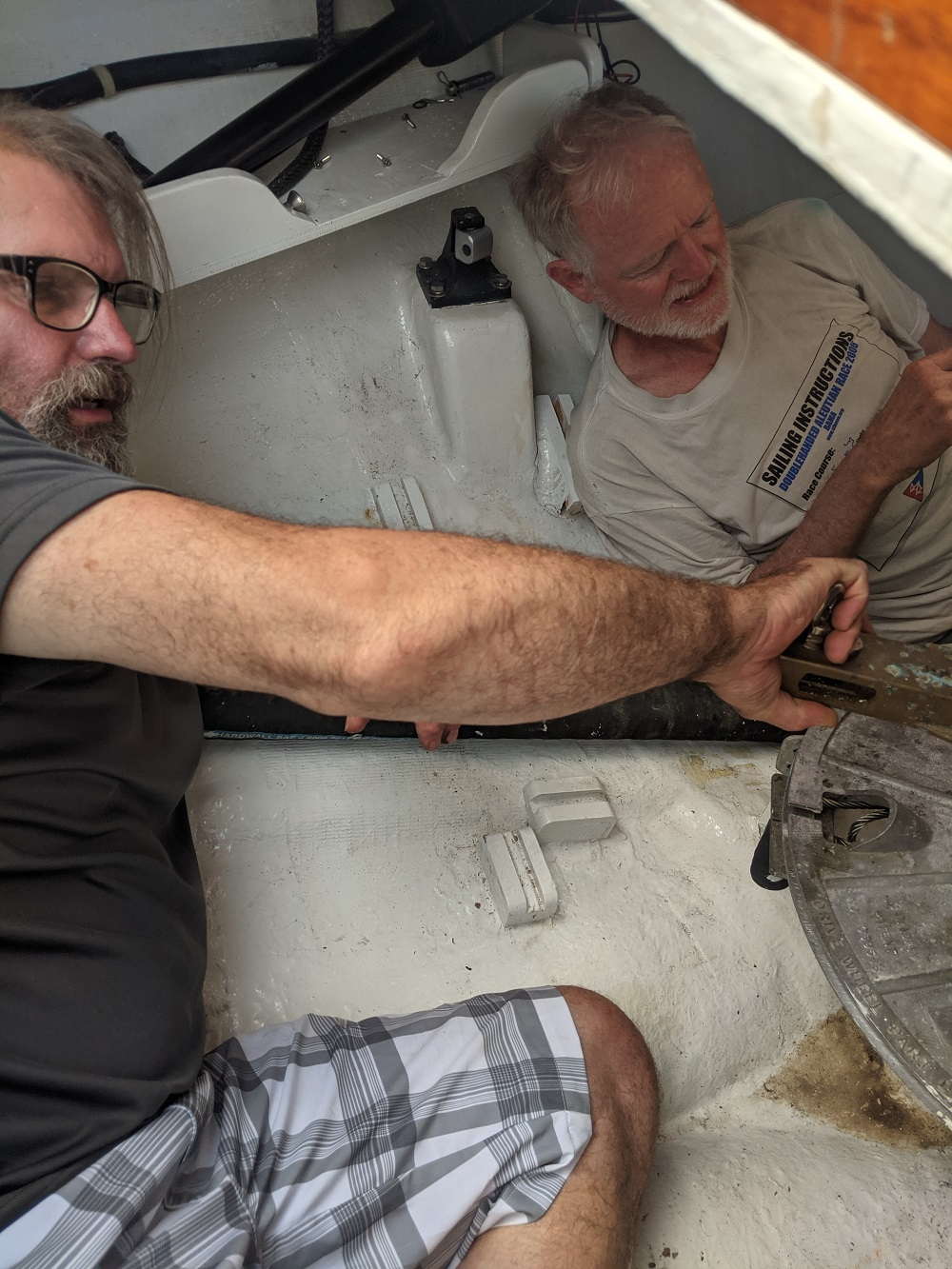Name:  Greg and Cliff in the rear lazarette.jpg Views: 280 Size:  448.1 KB